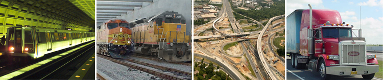 picture of subway, trains, highway interchange and truck